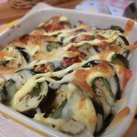 レンジとグリルで6分☆ なすとトマトのガリチーズ焼き