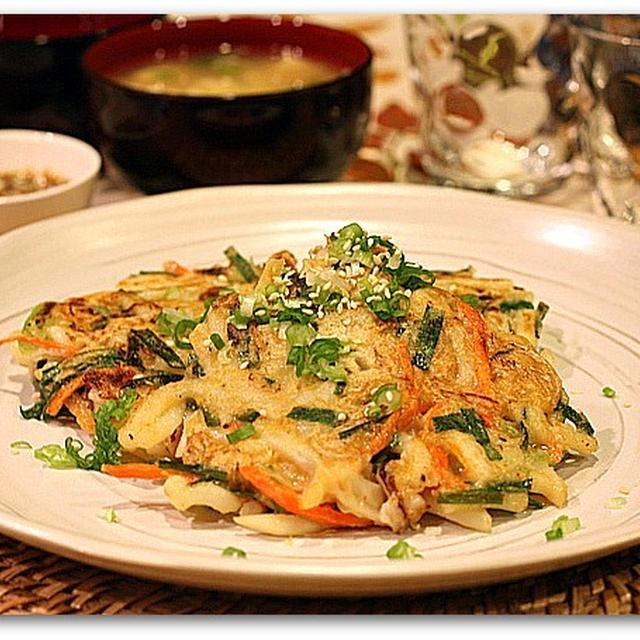 海鮮キムチうどんチヂミ&韓国のりたまごスープ