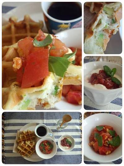 アボカド&チーズのデザートワッフル フレッシュトマトのソースで