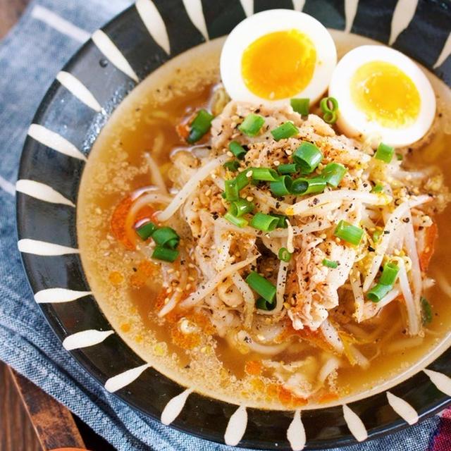 包丁いらず♪『豚バラもやしの醤油ラーメン風♡おかずスープ』【節約*時短】と『失敗しないゆで卵の切り方』