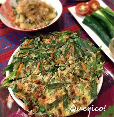 野菜たっぷり、納豆ニラチヂミ