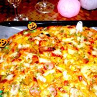 【レシピ】HMで簡単!ハーフ&ハーフピザで贅沢に~ハロウインバージョン~ (^^♪