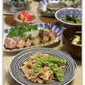 たけのこと鶏ミンチの肉みそ炒め&お魚のたたき*和食ごはん