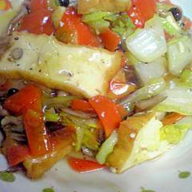 生揚げとカット野菜で中華風炒め