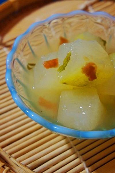 冷肴各種、冬瓜の梅肉大葉餡、モロヘイヤの擦り流し、鰻と国産赤ワインのマリアージュ