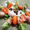 水菜が落ちないサラダ(半熟卵乗せ)