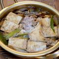 昔懐かしアルマイト鍋で「豚ひき肉の好き煮」&王道「どん兵衛きつねうどん特盛り」