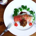 鱈のベーコンロール☆ バルサミコ風味のあめ色たまねぎを添えて