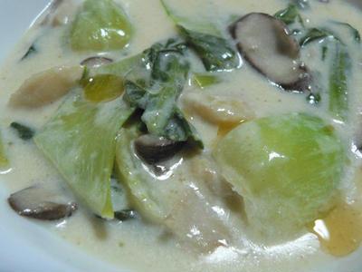 丹農園のチンゲンサイを簡単中華風クリーム煮で