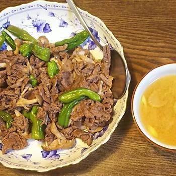 牛肉としし唐のソース炒め~天然ロシアンルーレット~
