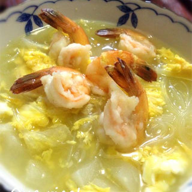 あっさり、ほっこり。海老とハヤトウリの春雨スープ
