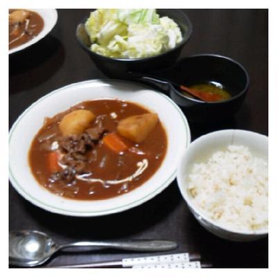 昨日の夕ご飯☆ビーフシチュー&洋風塩キャベツ