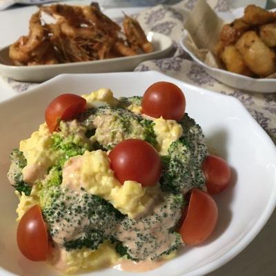 ブロッコリーと卵のクリスマスツリーサラダ