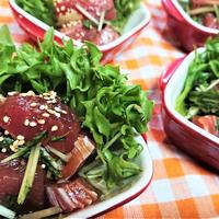 【レシピ】切り落としでめちゃウマー!簡単過ぎて感激ー!【マグロと水菜の麺つゆ生姜・サラダ仕立】