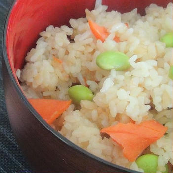 Japanese mixed rice with salmon and edamame