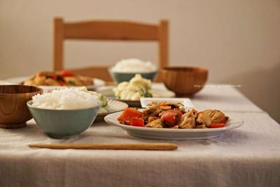 胸肉と野菜のトウチ炒め。