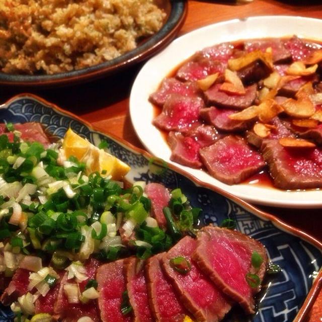 牛ブロック肉のステーキタタキ2種のお味で 他ガーリックライスや色々...