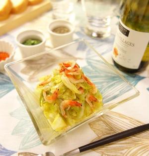 レンジでチョ~楽チン♪さっぱり爽やかレモンソースを和えていただくキャベツと桜えびの白ワイン蒸し -Recipe No.1514- 【Japanese】