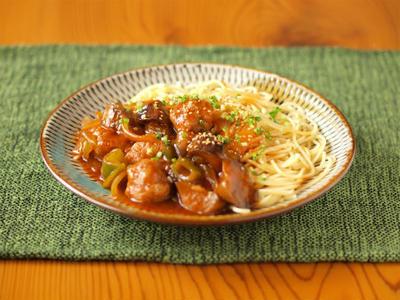 えび入り肉団子の中華風パスタ