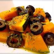 かぼちゃとブラックオリーブのジンジャーハニーレモン煮