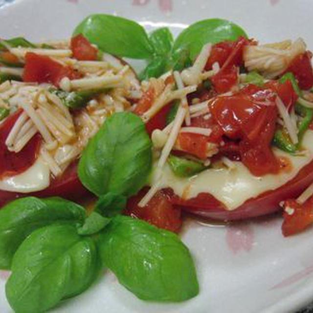 フライパンひとつで5分♪ トマトのステーキ 野菜ソースで