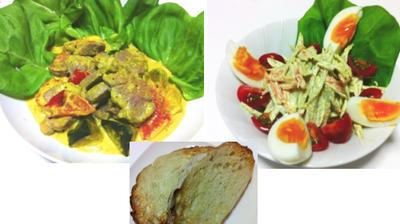 豚ヒレとカボチャのマスタードクリーム煮、ゴボウサラダ、ブロッコリーとソーセージのガーリック炒め他