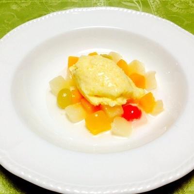 マスカルポーネと黄桃のアイスクリーム