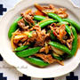♡フライパンde超簡単♡豚肉とスナップエンドウの甘辛炒め♡【#時短#レシピ#春野菜】