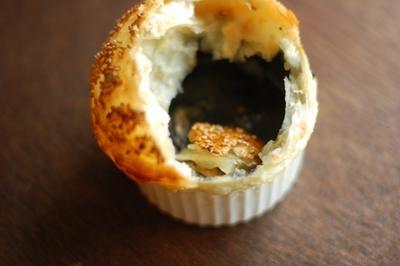黒胡麻豆乳汁粉のココット、パイ包み焼き