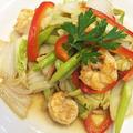 電子レンジ利用で時短ガラムマサラを加え「白菜とむき海老のスパイシー炒め物」 by pentaさん