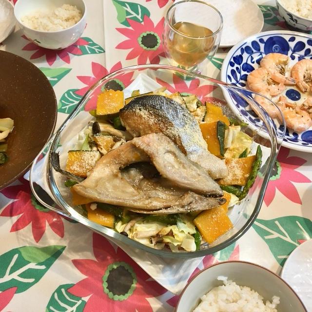 【放置料理】鮭のあたまと野菜たっぷりグリルはオーブンにお任せ!