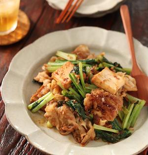 豚バラ厚揚げと小松菜の香ばし炒め【#簡単 #時短 #やる気がない日の晩ごはん #食材保存 #主菜】