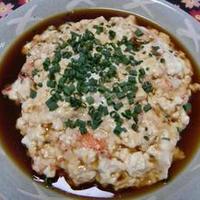 さっぱりとして美味しい!!お豆腐と海老の蒸しもの