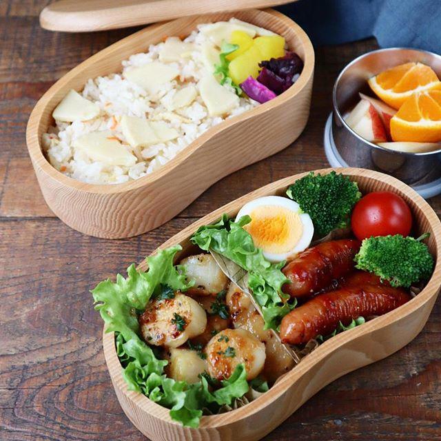 筍ご飯&帆立のバター焼き弁当♡【#お弁当#ごはん】