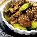 鶏レバーと胡瓜のガーリックオイスター炒め