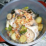 無加水鍋で塩鮭の三平汁風