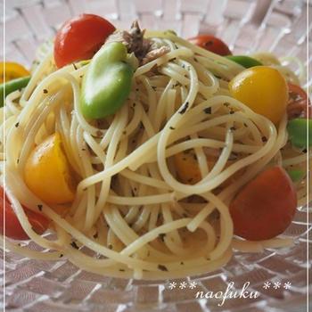 プチトマトとツナの冷製スパゲティ