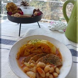 オレガノ風味のポークと白インゲン豆のトマト煮