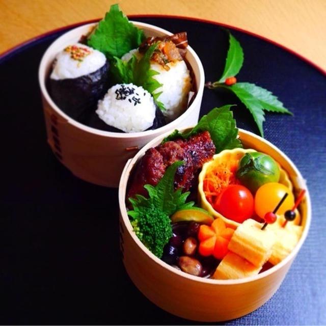 ハンバーグと三角おむすびの旦那くん弁当*常備菜の豆三昧
