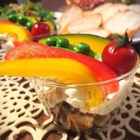 グラスでオシャレに♪グラスティラミス 彩り野菜のバーニャカウダグラスティラミスサラダ