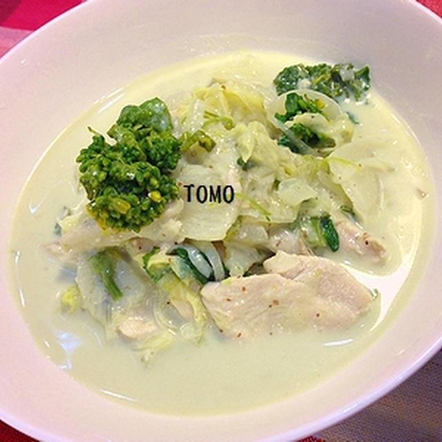 ヘルシー♪鶏胸肉と白菜の豆乳クリームマスタード煮
