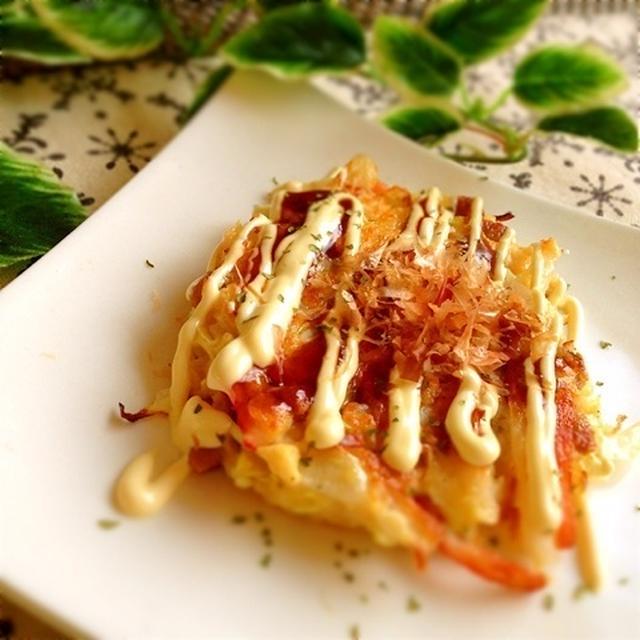 豆腐で作るキャベツと納豆のお好み焼き