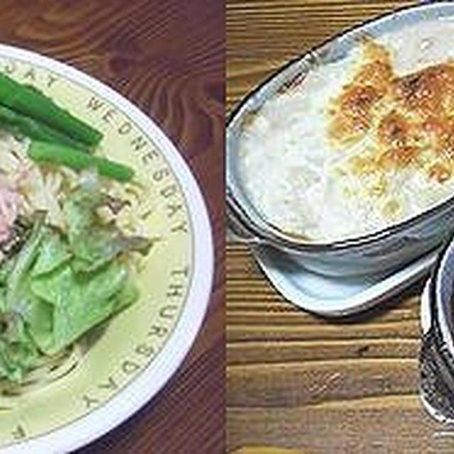 シーチキンパスタ。ドリア。筍の天ぷら