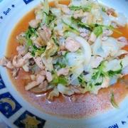 鶏むね肉と豆苗キャベツ炒め