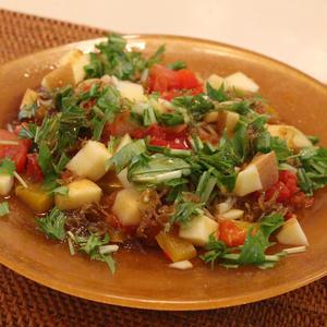 冷凍トマトとカラフル野菜の冷やし中華