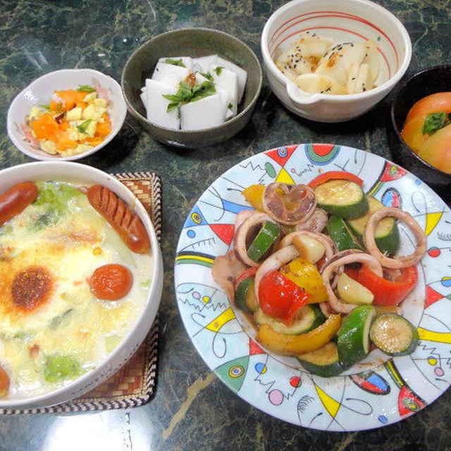 11月30日献立★Wにんにくのイカのしょうゆ麹ガーリックわた炒め&キャベツと卵のグラタン等全5品