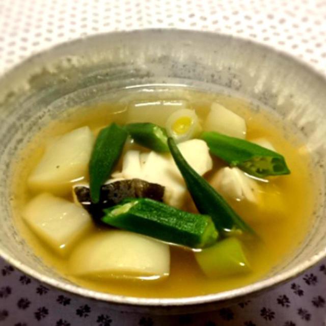 我家の夕食 かぶとたらのアジア風スープ