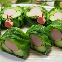 梅しそ風味魚肉ソーセージときゅうりの春キャベツのクルクル巻き&掲載