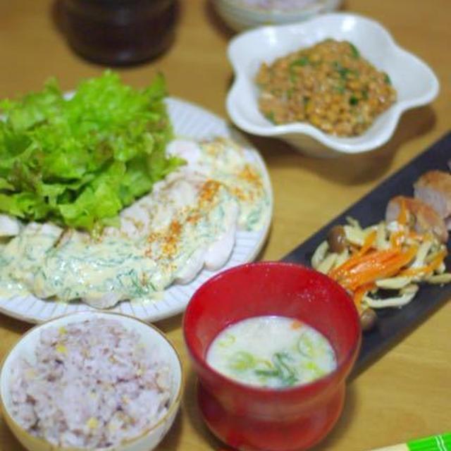 ネギ味噌ソースで鶏ハム♡ 赤ちゃんに会いに&ボジョレー解禁!
