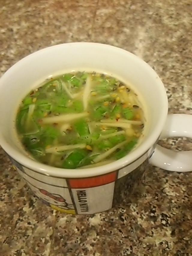 葉ニンニクの米ぬかグリーンカレースープ